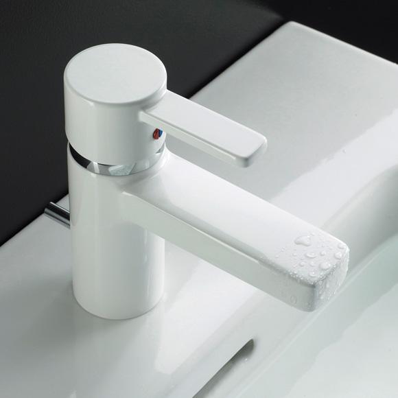 Kludi ZENTA Waschtischarmatur mit Ablaufgarnitur, chrom/weiß
