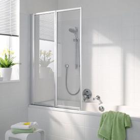 Koralle Avant Duschfaltwand 2-teilig für Badewanne ESG transparent mit GlasPlus / silber matt