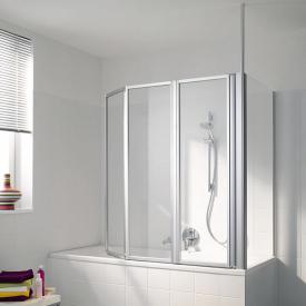 Koralle Avant Duschfaltwand 3-teilig für Badewanne ESG transparent mit GlasPlus / silber matt