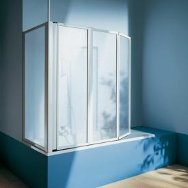 Koralle Avant Duschfaltwand 3-teilig für Badewanne Kunstglas Polyrit aquaperl transparent / silber matt