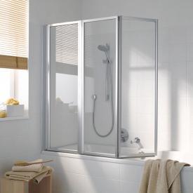 Koralle Avant Duschfaltwand für Badewanne, 3-teilig ESG transparent mit GlasPlus / silber matt