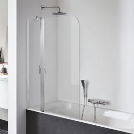 Koralle SL410 Pendeltür mit Festelement für Badewanne ESG transparent mit GlasPlus / silber matt