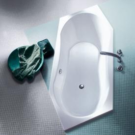 Koralle T200 Sechseck-Badewanne, Kopfteil links, Überlauf hinten weiss Überlauf hinten