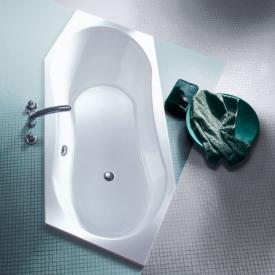 Koralle T200 Sechseck-Badewanne, Kopfteil rechts, Überlauf hinten weiss Überlauf hinten