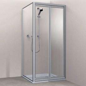 Koralle Twiggy Top Duschpendeltür für Trennwand oder Nische Kunstglas Polyrit aquaperl transparent / silber matt