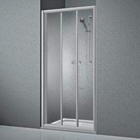 Koralle Twiggy Top Duschschiebetür 3-teilig für Trennwand oder Nische ESG transparent / silber matt