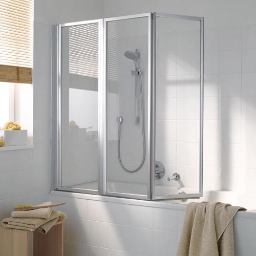 Koralle Avant Duschfaltwand für Badewanne, 3-teilig Polyrit aquaperl transparent / Silber matt