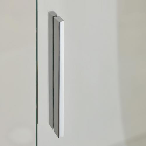 Koralle S600Plus Schiebetür mit Trennwand an Festelement 2-teilig ESG transparent / silber hochglanz/hochglanz