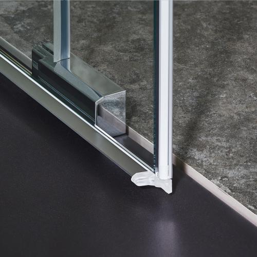 Koralle S606Plus Schiebetür mit Trennwand 4-teilig ESG transparent / silber hochglanz/hochglanz