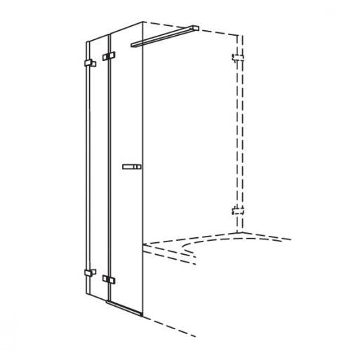 Koralle S700 Pendeltür für kurze Trennwand ESG transparent / Silber glanz