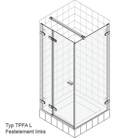 Koralle S700 Pendeltür für Trennwand ESG transparent / Silber glanz