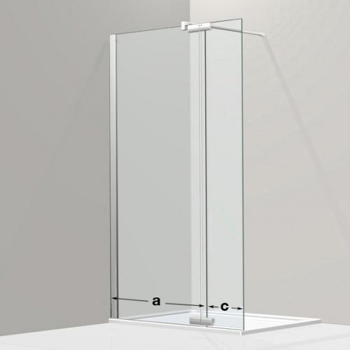 Koralle S800 Walk In mit Pendelelement ESG transparent / silber hochglanz