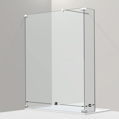Koralle S808 Walk In mit Seitenwand ESG transparent / silber hochglanz