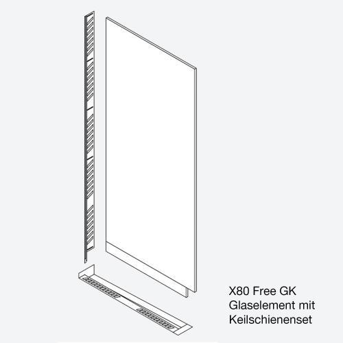 Koralle X80 Free Glaselement für Keilschienenset ESG transparent