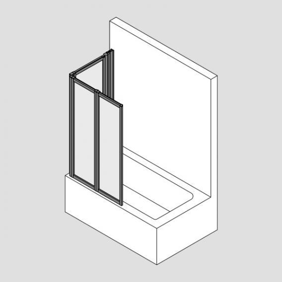 Koralle Avant Duschfaltwand für Badewanne über Eck, 3-teilig Kunstglas Polyrit aquaperl transparent / silber matt