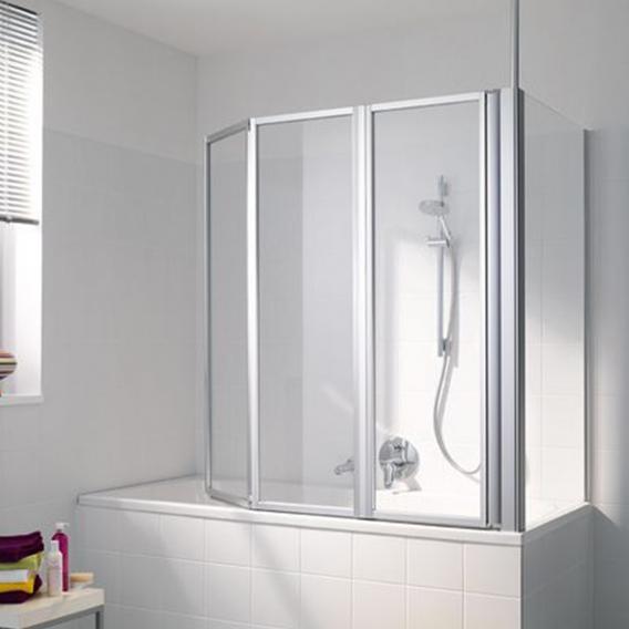 Koralle Avant Duschtrennwand für Badewanne Polyrit aquaperl transparent / silber matt