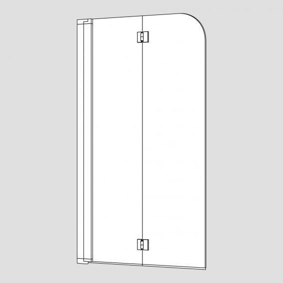 Koralle myDay Duschfalttür 2-teilig für Badewanne ESG transparent mit GlasPlus / silber poliert