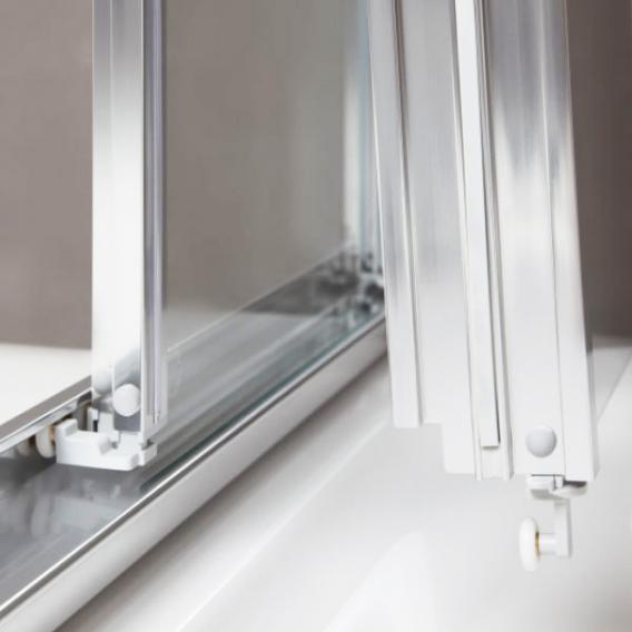 Koralle myDay Viertelkreis Schiebetür 4-teilig ESG transparent mit GlasPlus / silber poliert