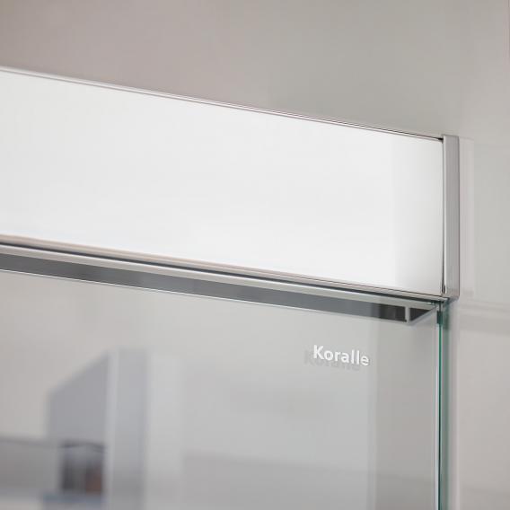 Koralle S600Plus Schiebetür mit Trennwand an Festelement 2-teilig ESG transparent mit GlasPlus / silber hochglanz/hochglanz