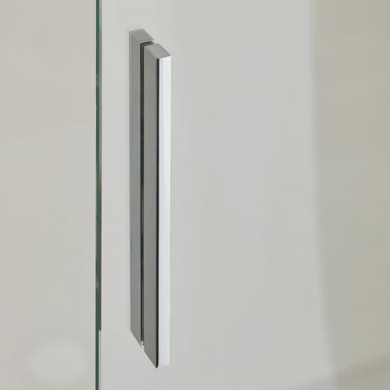 Koralle S600Plus Schiebetür mit Trennwand an Einstiegsseite 2-teilig ESG transparent / silber hochglanz/bianco