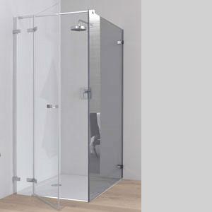 Koralle S700 Trennwand für Pendeltür ESG transparent / Silber glanz