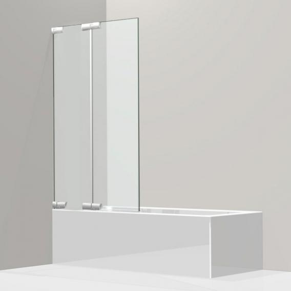 Koralle S808 Duschfalttür 2-teilig für Badewanne ESG transparent / silber hochglanz