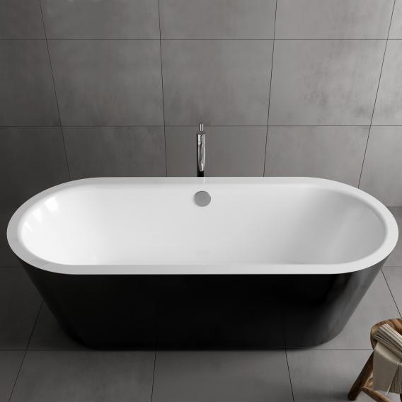 Koralle T700 freistehende Oval Badewanne weiß / schwarz