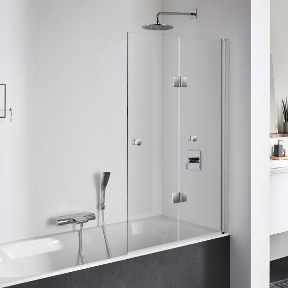 Koralle TwiggyPlus Falttür 2-teilig für Badewanne ESG transparent mit GlasPlus / silber matt