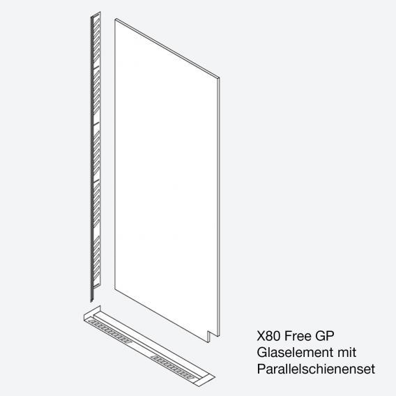 Koralle X80 Free Glaselement für Parallelschienenset ESG transparent