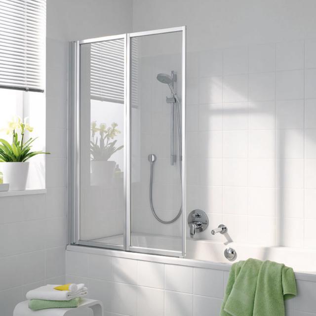 Koralle Avant Duschfaltwand 2-teilig für Badewanne Kunstglas Polyrit aquaperl transparent / silber matt