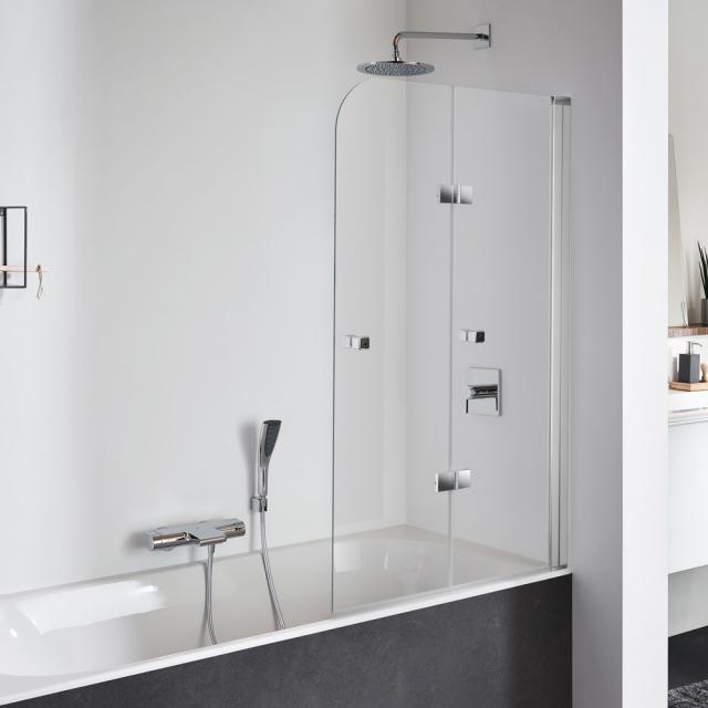 Koralle SL410 Falttür für Badewanne ESG transparent mit GlasPlus / silber matt