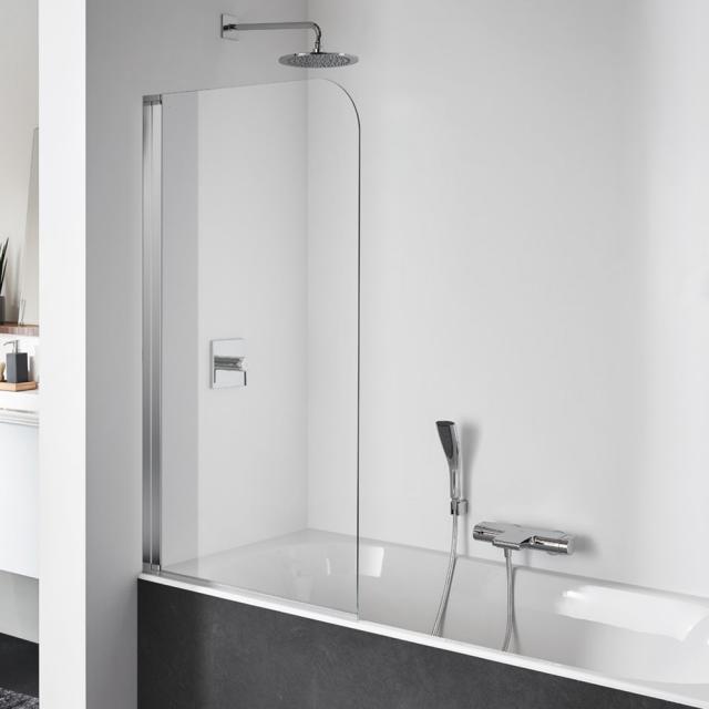 Koralle SL410 Pendeltür für Badewanne ESG transparent mit GlasPlus / silber poliert