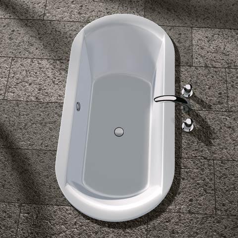 Koralle T700 Oval-Badewanne, Einbau weiß