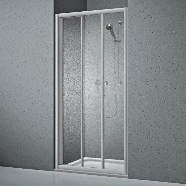 Koralle Twiggy Top Duschschiebetür 3-teilig für Trennwand oder Nische Kunstglas Polyrit aquaperl transparent / silber matt