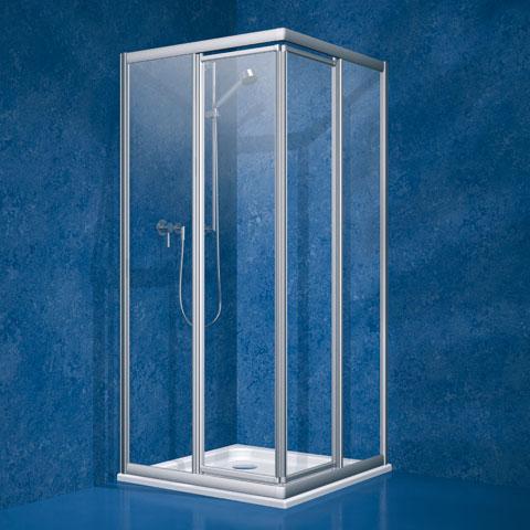 Koralle Twiggy Top Pendeltür Eckeinstieg Kunstglas Polyrit aquaperl transparent / silber matt