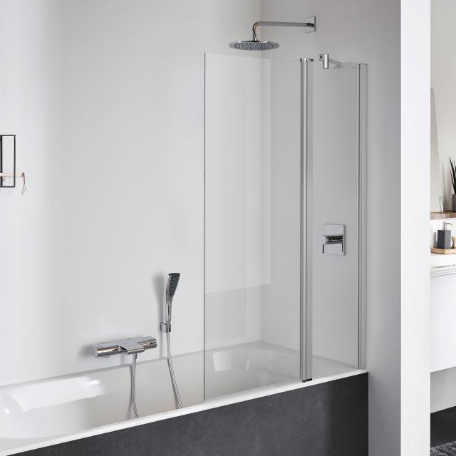 Koralle TwiggyPlus Pendeltür mit Festelement für Badewanne ESG transparent mit GlasPlus / silber matt