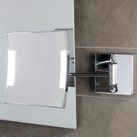 KOH-I-NOOR QUADROLO LED Wand-Kosmetikspiegel, starrer Arm, neigbar