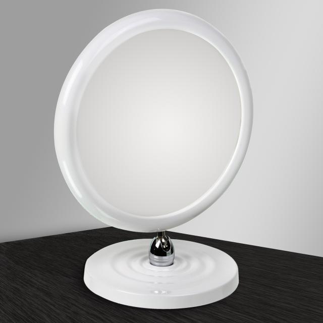 KOH-I-NOOR TOELETTA doppelseitiger Stand-Kosmetikspiegel mit Fuß Vergrößerung 3-fach, weiß
