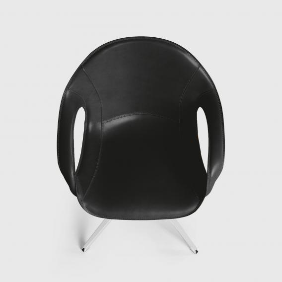 "Kristalia Elephant Sessel auf Ständer, ""vollnarbiges"" Kernleder, drehbar"