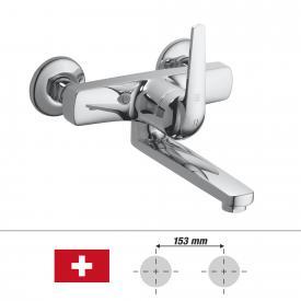 KWC Domo Einhebel-Waschtischmischer mit Schwenkauslauf, für Wandmontage Ausladung: 175 mm
