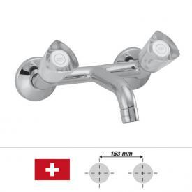 KWC Star Zweigriff-Waschtischmischer, für Wandmontage Ausladung: 125 mm