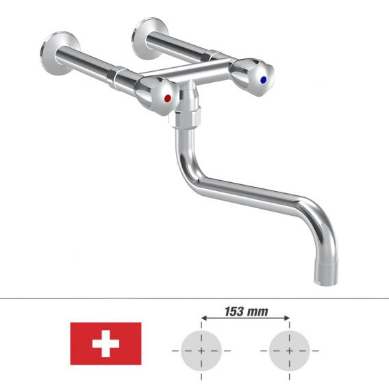 KWC Gastro Zweigriff-Küchenmischer mit Schwenkauslauf, für die Schweiz