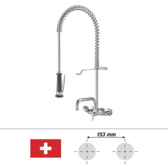 KWC Gastro Zweigriff-Küchenmischer mit Tragfeder aus Edelstahl, für die Schweiz