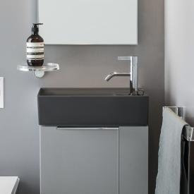 Kartell by Laufen Handwaschbecken, mit verdecktem Überlauf graphit matt, mit 1 Hahnloch