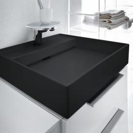 Kartell by Laufen Handwaschbecken, mit verstecktem Überlauf schwarz matt, mit 1 Hahnloch
