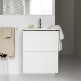 Kartell by Laufen Waschtisch mit Waschtischunterschrank mit 2 Auszügen Front weiß matt / Korpus weiß matt