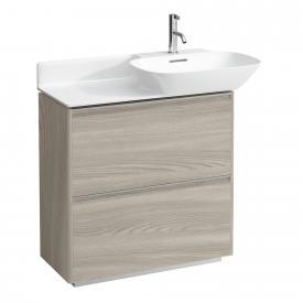 Laufen Base für INO Waschtischunterschrank mit 2 Auszügen Front ulme hell / Korpus ulme hell, Griffleiste aluminium