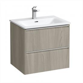 Laufen Palace Waschtisch mit Base Waschtischunterschrank mit 2 Auszügen Front ulme hell / Korpus ulme hell, Griffleiste silber eloxiert