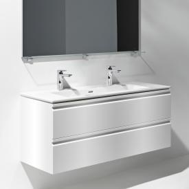 Laufen Pro S Waschtisch mit Waschtischunterschrank mit 2 Auszügen Front weiß glanz / Korpus weiß glanz, mit 2 Hahnlöchern