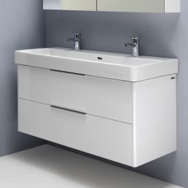 Laufen Pro S Waschtisch mit Waschtischunterschrank mit 2 Auszügen weiß, mit Clean Coat, mit 2 Hahnlöchern, mit Überlauf